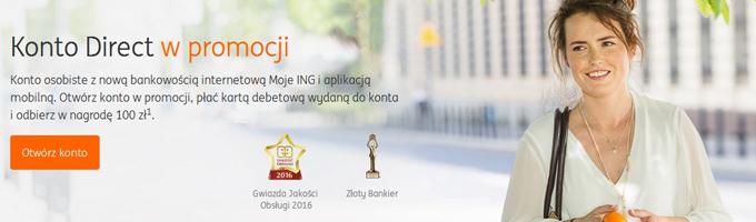 Premia 100 zł za założenie darmowego konta osobistego w ING