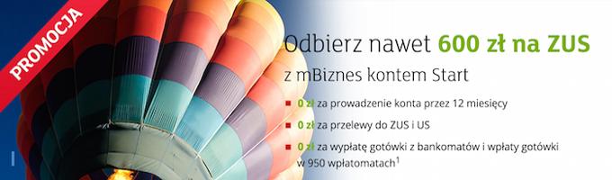 Otwórz darmowe konto firmowe mBiznes w mBanku i zgarnij 600 zł