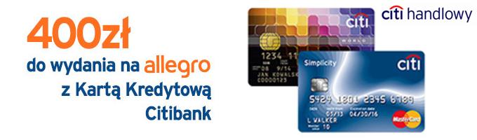 400 zł do wydania na Allegro z kartą kredytową Citibank