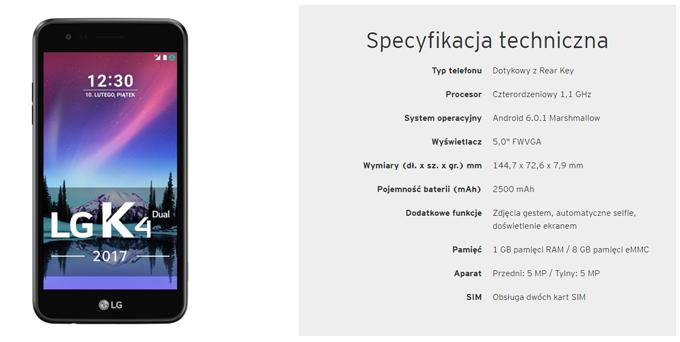 Smartfon LG K4 Dual