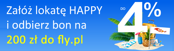Lokata Happy 4% z bonem 200 zł do fly.pl w Idea Bank