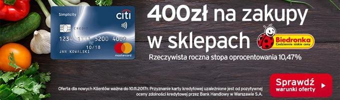 Załóż kartę w Citi i odbierz voucher o wartości 400 zł do Biedronki za darmo