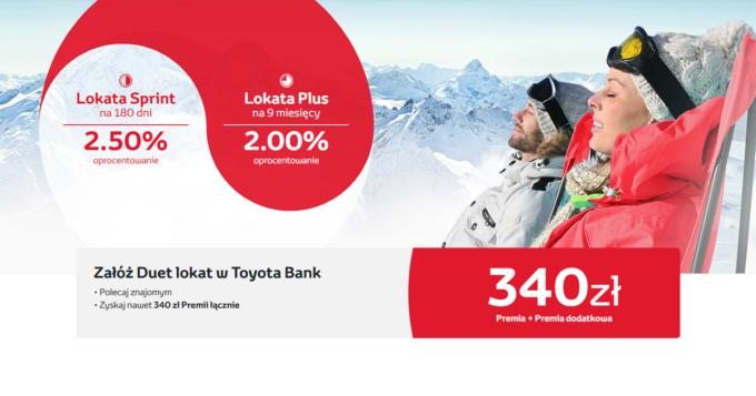 Duet lokat z premią do 340 zł w Toyota Bank