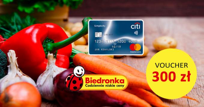 Załóż bezpłatną kartę Citi Simplicity i odbierz voucher 300 zł do Biedronki za darmo