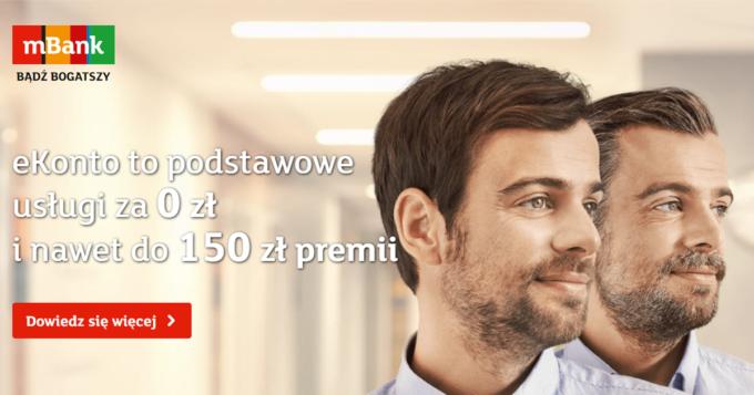Bezpłatne eKonto mBank - odbierz 150 zł premii