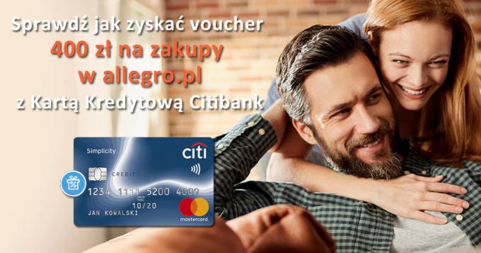 Załóż bezpłatną kartę Citi Simplicity i odbierz 400 zł na zakupy w Allegro.pl