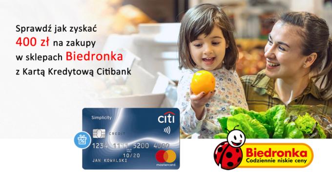 Załóż bezpłatną kartę Citi Simplicity i odbierz bon o wartości 400 zł do Biedronki za darmo