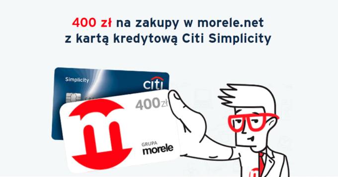 400 zł na zakupy w morele.net z kartą kredytową Citi Simplicity
