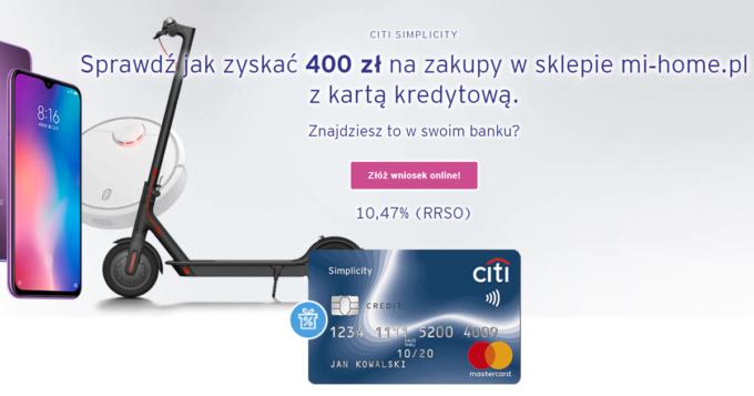 Przetestuj darmową kartę Citi Simplicity i odbierz 400 zł na zakupy w sklepie mi‑home.pl