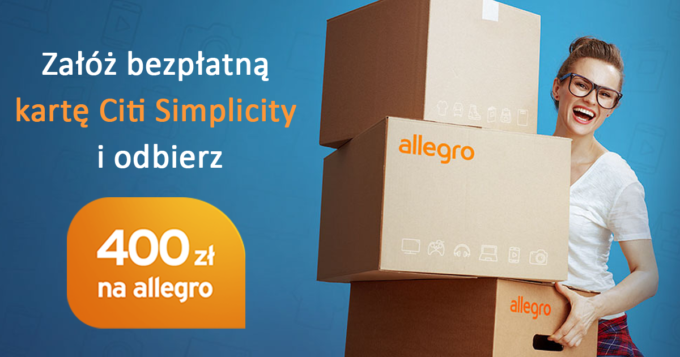 Załóż bezpłatną kartę Citi Simplicity i odbierz 400 zł na zakupy na Allegro.pl